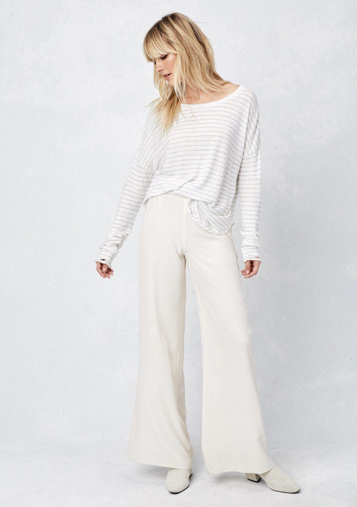 [Color: Ivory/Sky]  Lovestitch striped, long sleeve distressed top