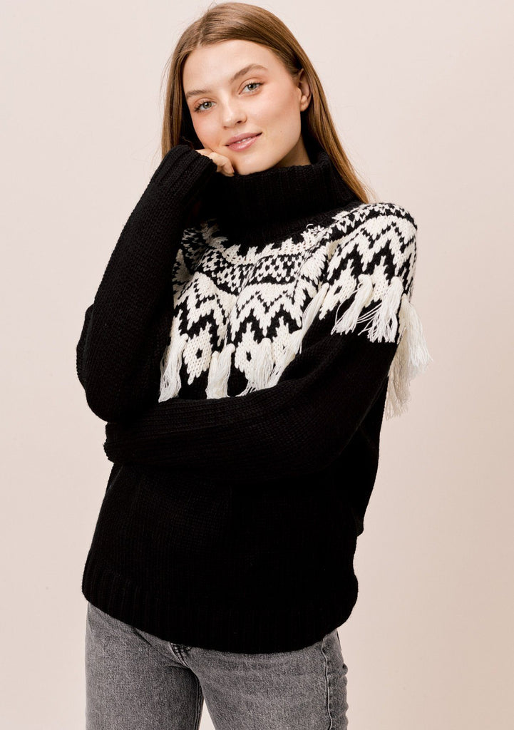 [Color: Black/Ivory] Lovestitch Black/Ivory Alpine Sweater with Fringe