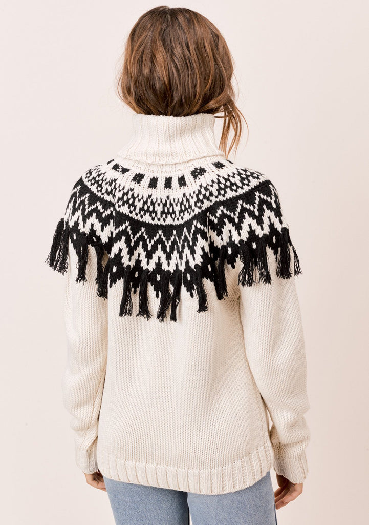 [Color: Ivory/Black] Lovestitch Ivory/Black Alpine Sweater with Fringe
