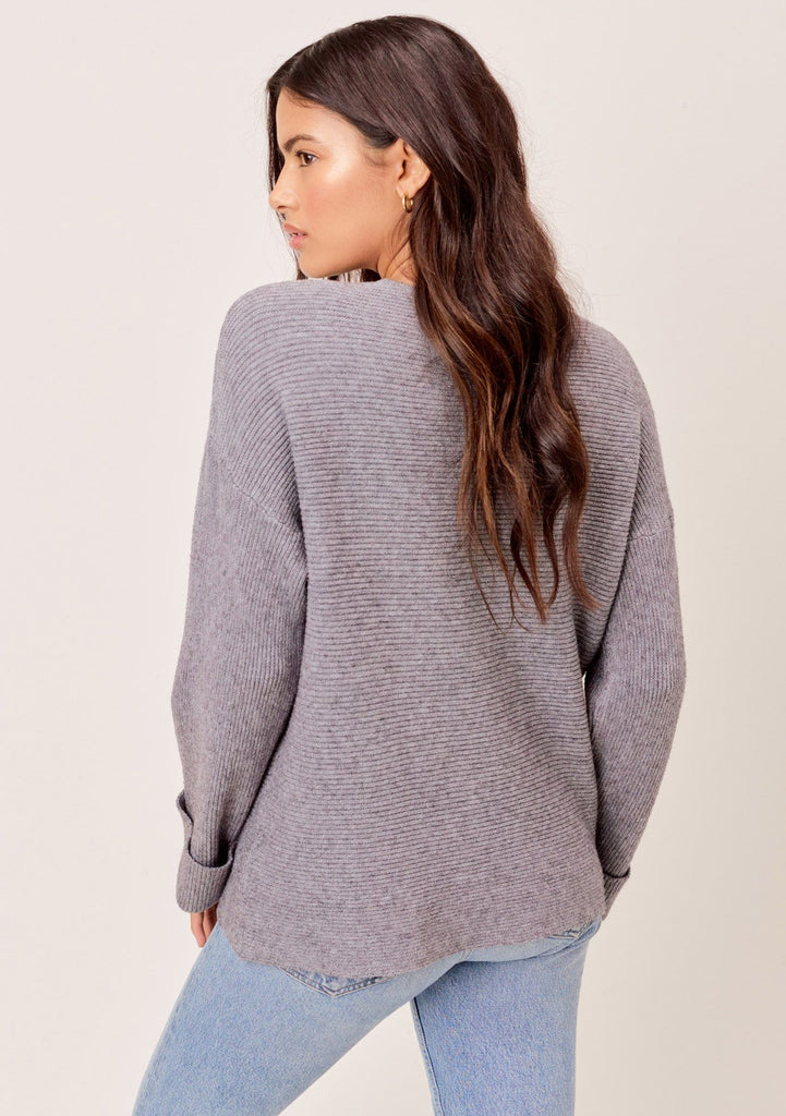 [Color: Heather Charcoal] Heather charcoal, dropped shoulder, ribbed sweater with cuff sleeves and V neckline.