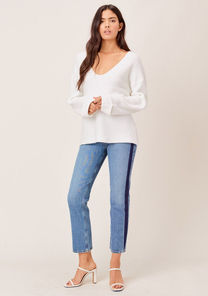 [Color: Ivory] White ribbed pullover sweater with plunging v neckline, long oversize cuffed sleeves, a flattering relaxed fit. The softest cozy white sweater.