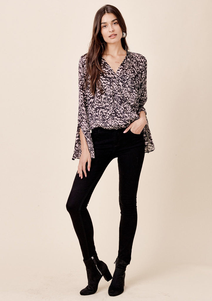 [Color: Black/Taupe] Lovestitch abstract animal printed, split bell sleeve surplice top.