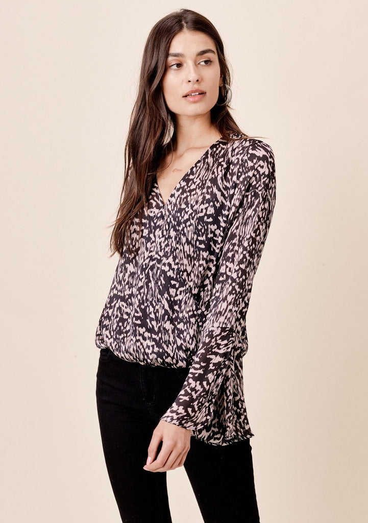3fbf33302cee [Color: Black/Taupe] Lovestitch abstract animal printed, split bell sleeve  surplice