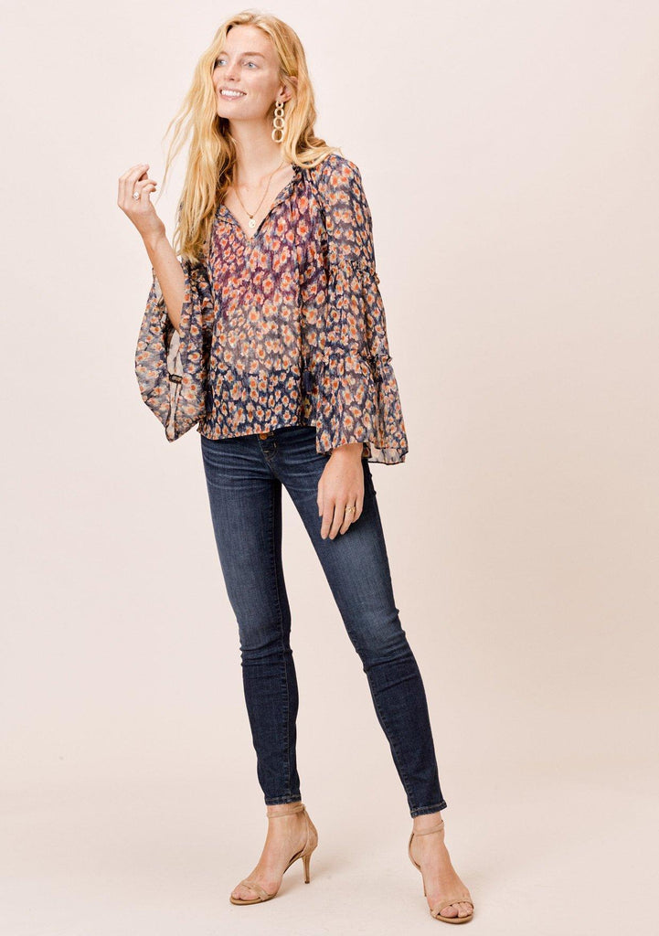 [Color: Navy] Lovestitch printed navy bell sleeve top with tie fronts