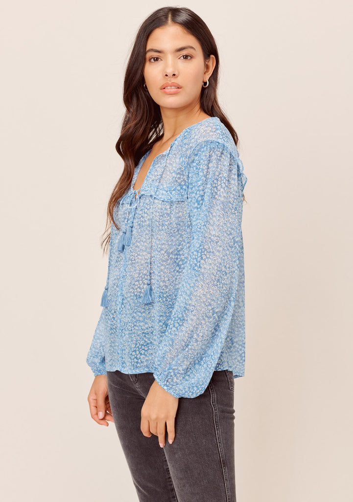 [Color: Blue] Lovestitch blue Abstract animal printed chiffon, long sleeve peasant top with double tassel tie with ruffled details.