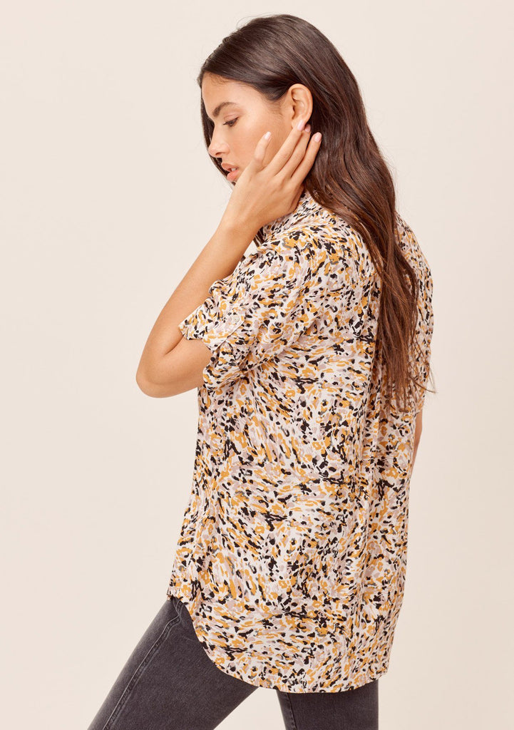 [Color: Bone/Butterscotch] Lovestitch bone/butterscotch Brushstroke animal printed, roll tab short sleeve, buttondown top.