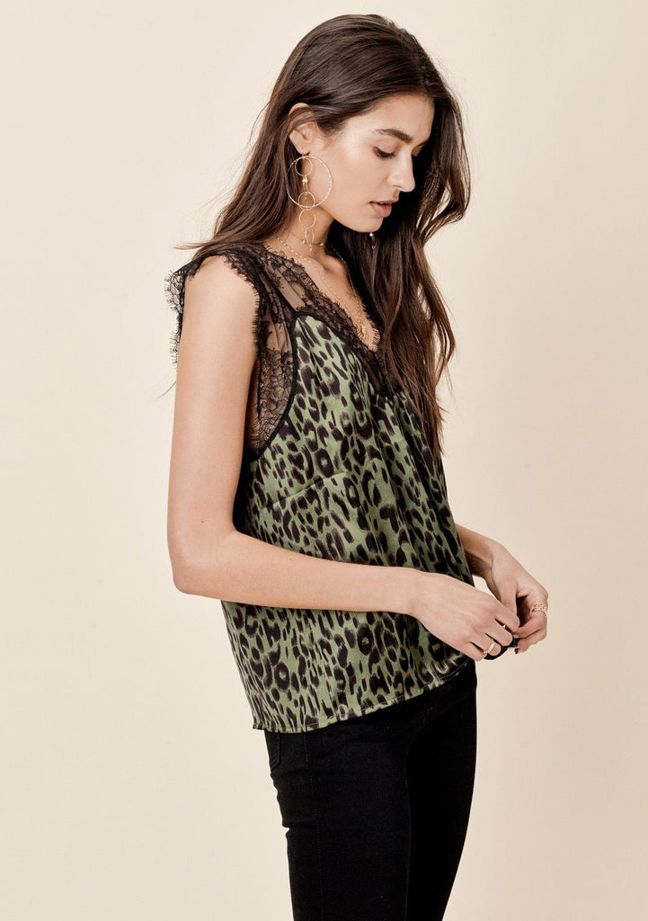 [Color: Army/Black] Lovestitch sleeveless, leopard printed silky top with lace details.