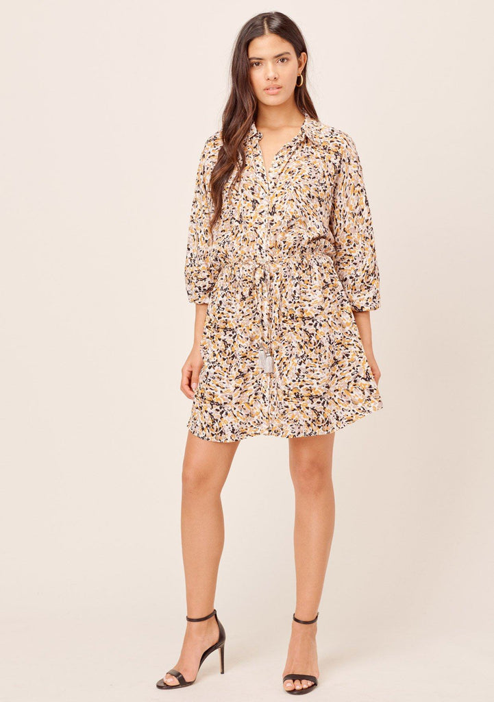 [Color: Bone/Butterscotch] Lovestitch Printed, button down shirt dress with three quarter length sleeves and tassel tie belt.