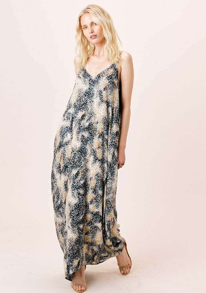 [Color: Black/Stone] Lovestitch watercolor animal printed cocoon maxi dress with pockets