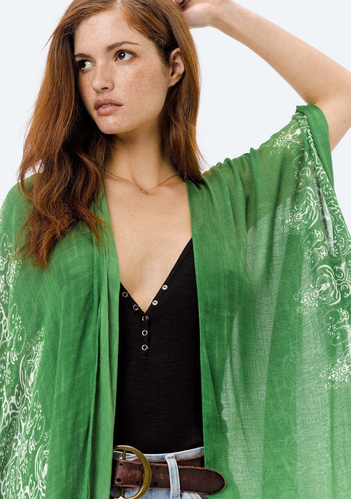 [Color: LeafGreen/OffWhite] Lovestitch bohemian, sheer, Moroccan tile printed kimono.