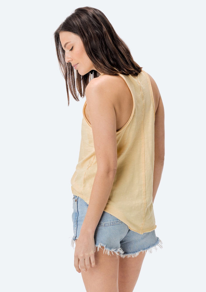 [Color: Custard] Lovestitch Sleeveless Racerback Cotton Tank Top