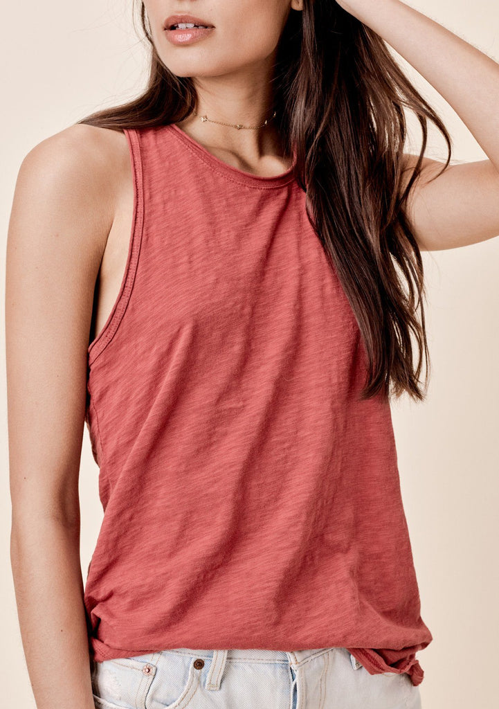 [Color: Brick] Lovestitch Sleeveless Racerback Cotton Tank Top