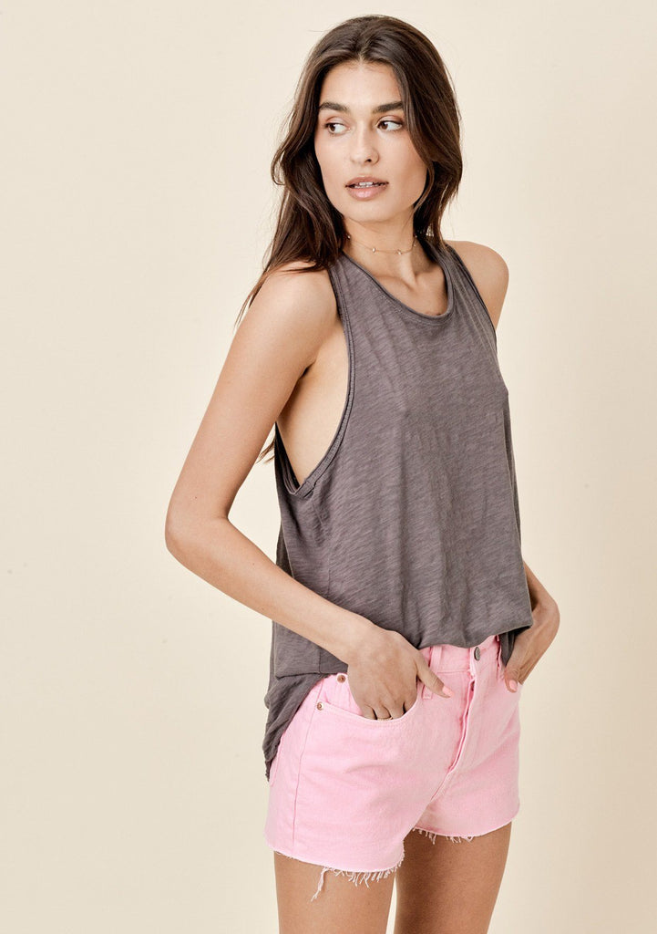[Color: Charcoal] Lovestitch Sleeveless Racerback Cotton Tank Top