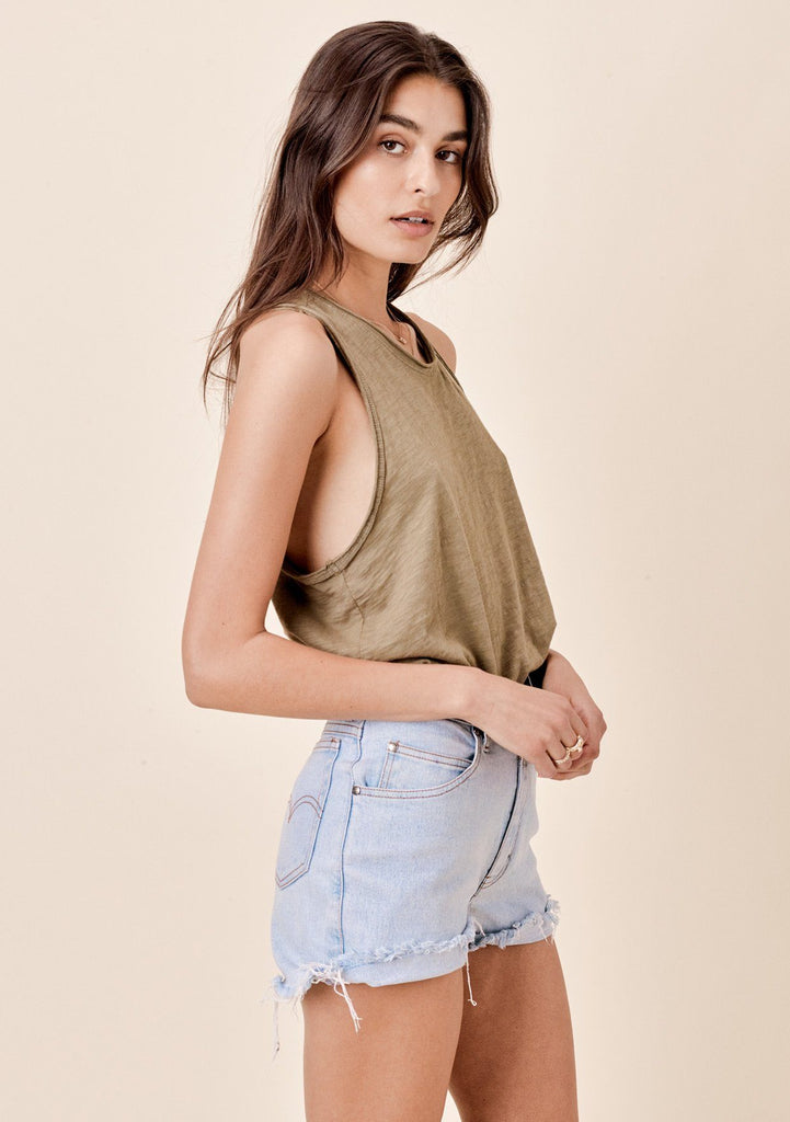 [Color: Olive] Lovestitch Sleeveless Racerback Cotton Tank Top
