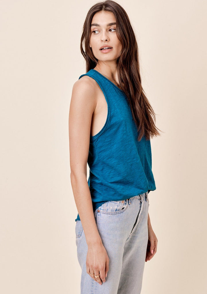 [Color: Teal] Lovestitch Sleeveless Racerback Cotton Tank Top