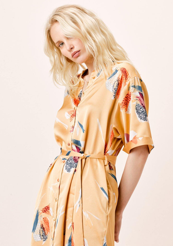 [Color: Honey Gold] Lovestitch Yellow tiger Floral Printed, Belted Shirt Dress