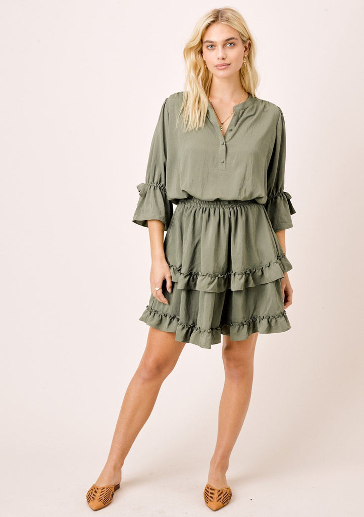 [Color: Army] Lovestitch Mini dress with tiered ruffled detail & flattering sleeves