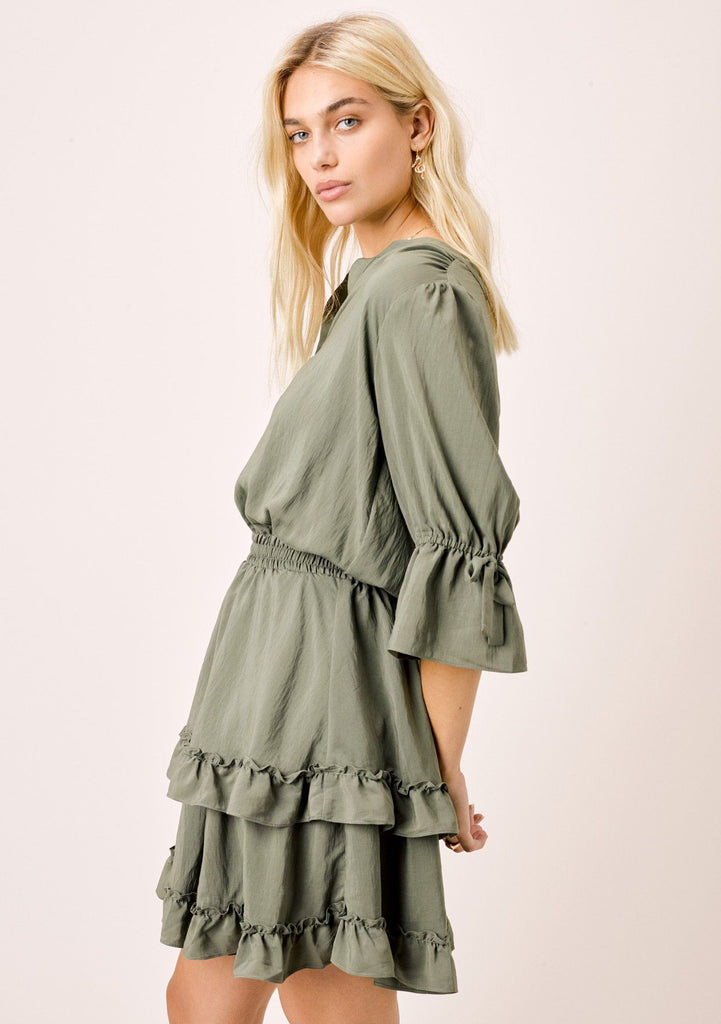 [Color: Army] Lovestitch army midi dress with tiered and ruffled detail.