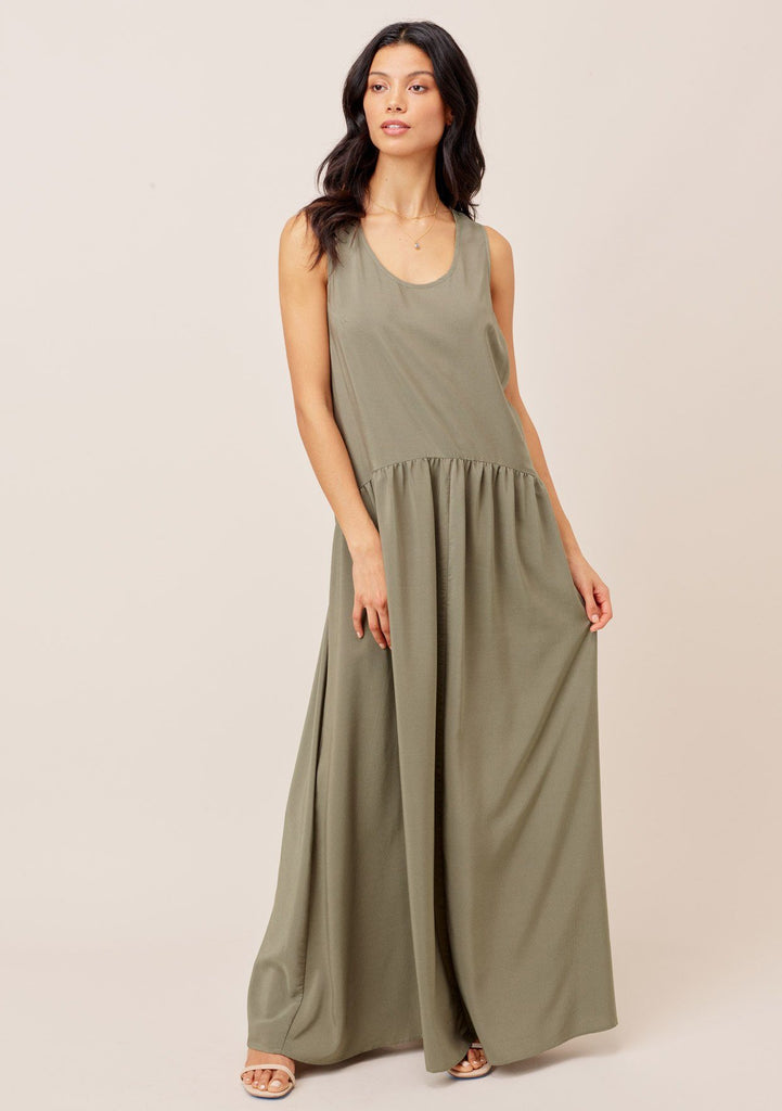 [Color: Olive] Lovestitch olive green gorgeous, tiered maxi dress with flowy, flattering silhouette and sexy racerback detail.