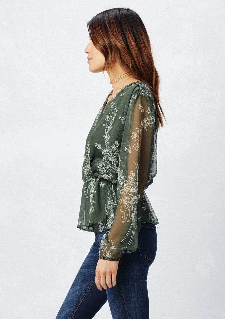 [Color: Avocado/Vanilla] Lovestitch avocado green, long sheer sleeved, floral printed chiffon surplice blouse with tie detail at waist.