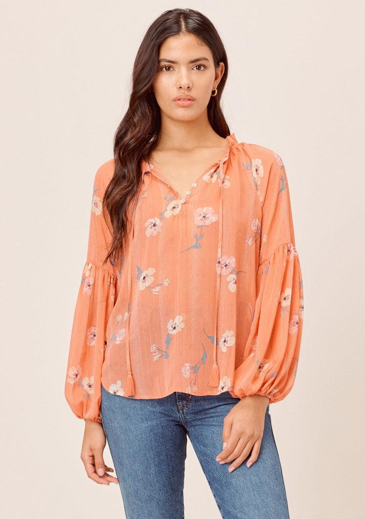 [Color: Apricot/Peach] Lovestitch orange sheer, floral printed V-neck blouse with volume balloon sleeve and tassel tie neck.