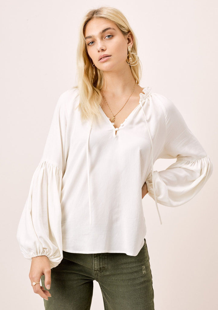[Color: Ivory] Lovestitch Ivory, long lantern sleeve top with ruffle neck detail and covered buttons