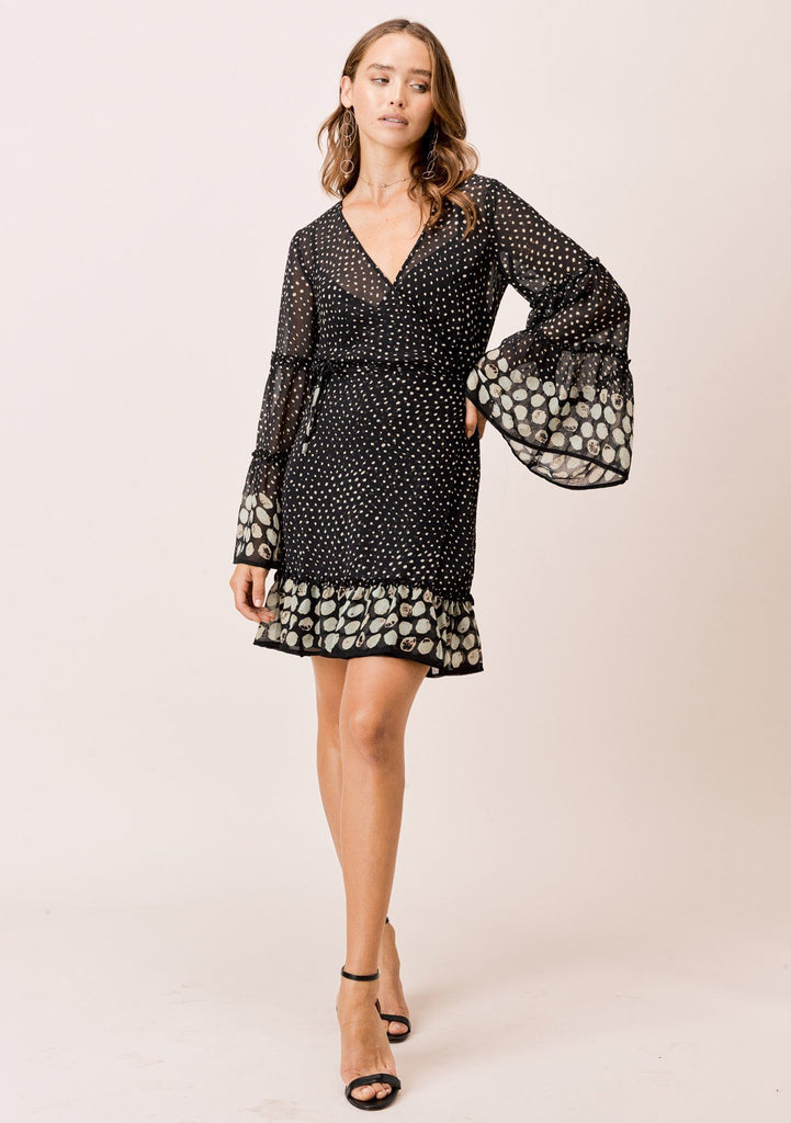 [Color: Midnight/Sky] Lovestitch Border dot printed, wrap mini dress with dramatic, elegant bell sleeves.