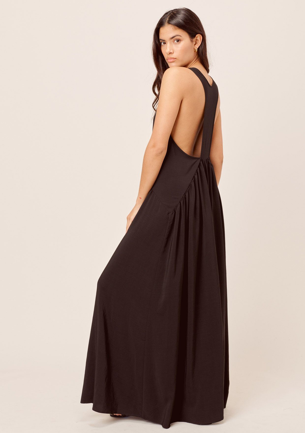 [Color: Black] Lovestitch black gorgeous, tiered maxi dress with flowy, flattering silhouette and sexy racerback detail.