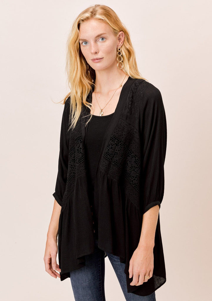 [Color: Black] Lovestitch black, volume sleeve, woven cardigan with multi lace trim.
