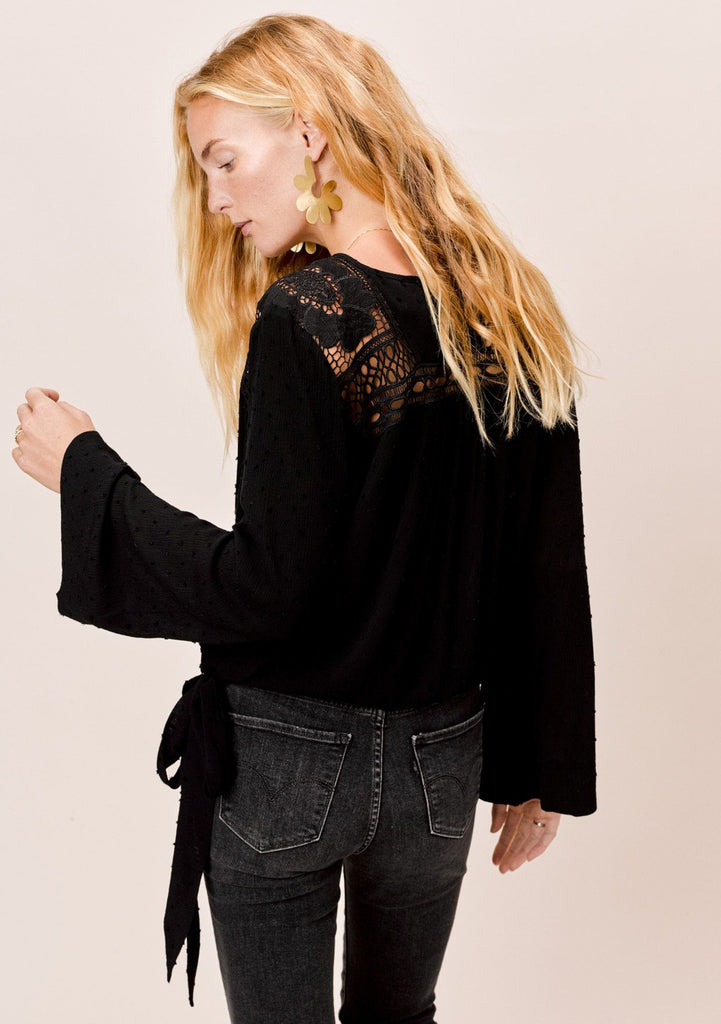 [Color: Black] Lovestitch Black Bell Sleeve faux wrap top with crochet yoke