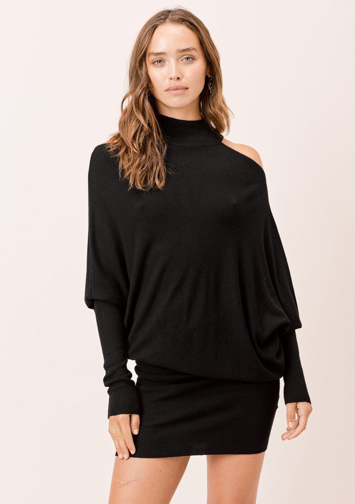 [Color: Black] Lovestitch black mock neck, cold shoulder asymmetrical sweater dress.