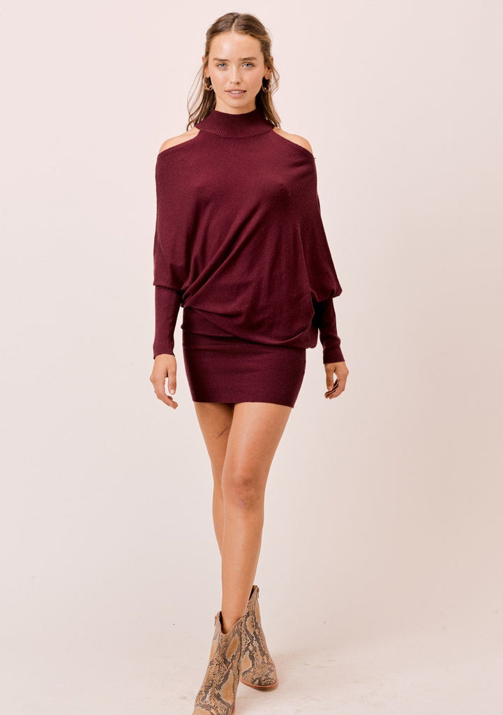[Color: Burgundy] Lovestitch black mock neck, cold shoulder asymmetrical sweater dress.