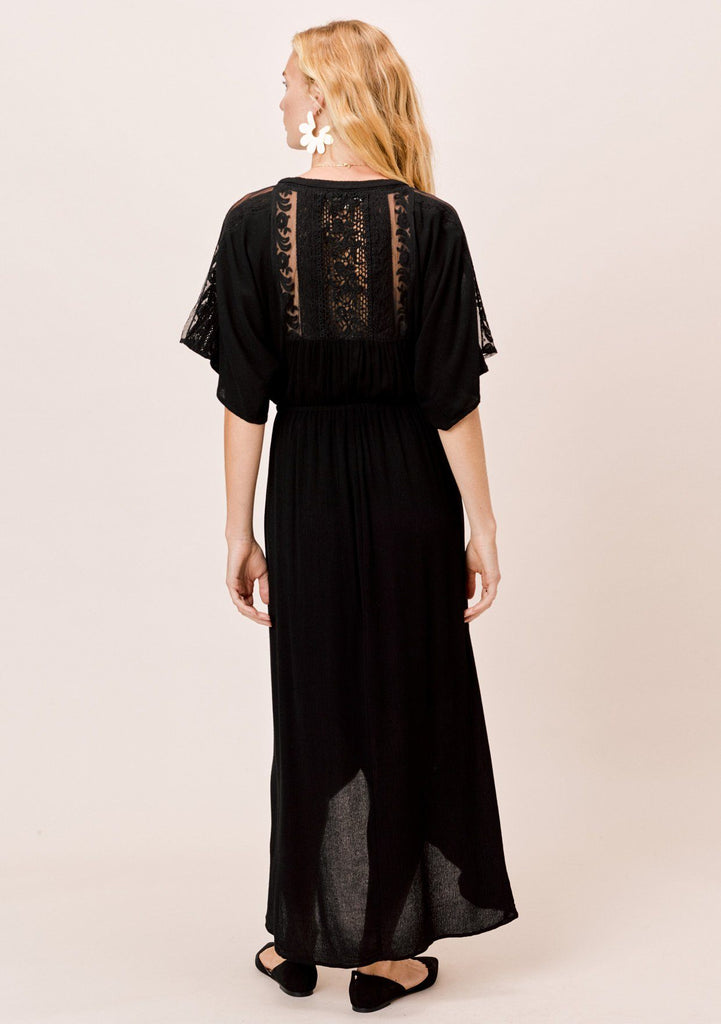 [Color: Black] Lovestitch wrap front dress with mixed lace trim