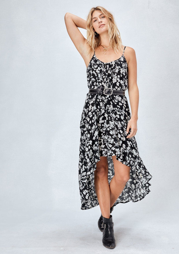 [Color: Black] Lovestitch black, billowy, one size, sleeveless floral dress.