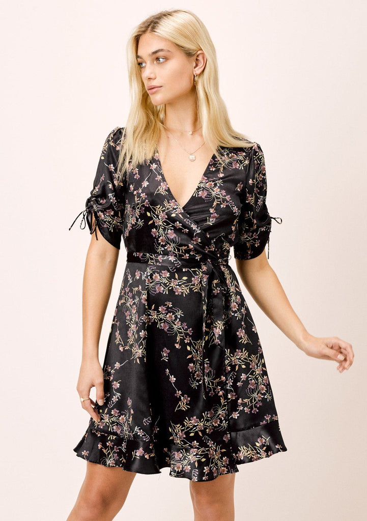 [Color: Black] Lovestitch black floral satin faux wrap dress with shirred sleeves.