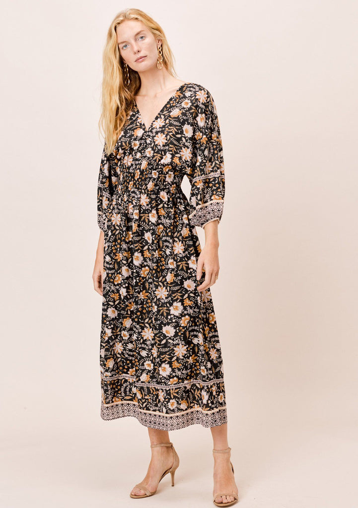 [Color: Black] Lovestitch beautiful bohemian floral maxi dress with 3/4 volume sleeves, V-neckline and an open tie-back.