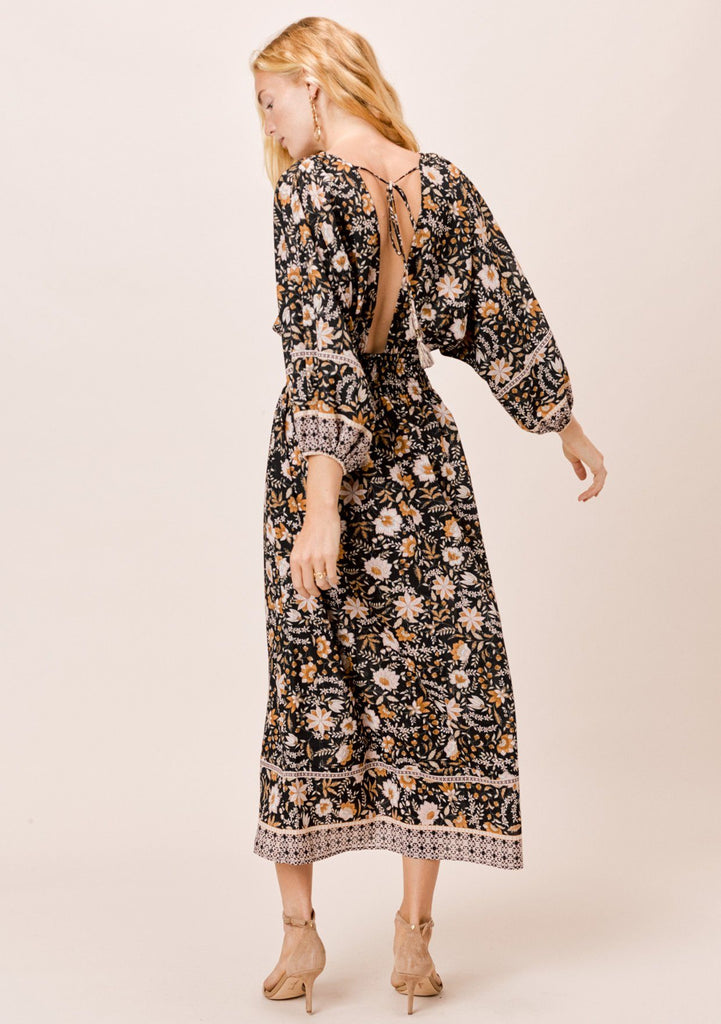[Color: Black] Lovestitch beautiful black bohemian floral maxi dress with 3/4 volume sleeves, V-neckline and an open tie-back.