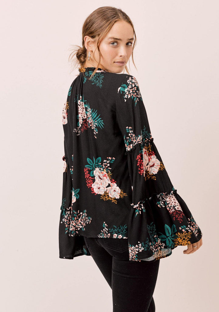[Color: Black] Lovestitch black Floral printed, bell sleeve, bohemian top with tie neck and ruffle details.