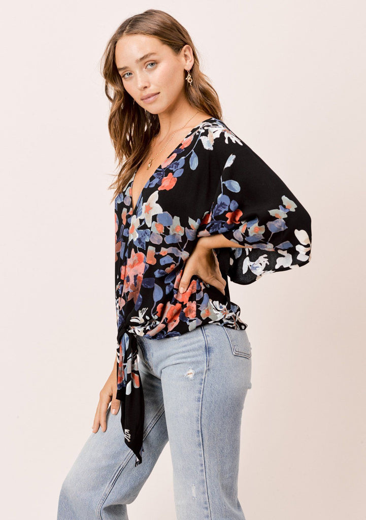 [Color: Black/Rust/Cornflower] Lovestitch black floral printed tie front top with kimono sleeves