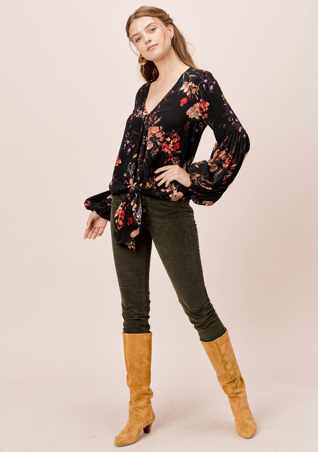 [Color: Black/Clay] Lovestitch Floral Tie Front Top with Volume Sleeves