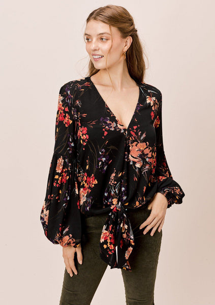 Amber Floral Tie Front Top