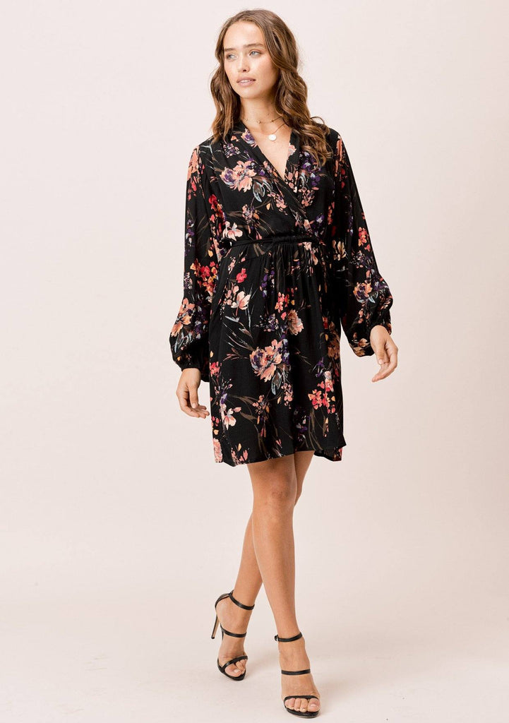 [Color: Black/Clay] Lovestitch black floral printed, volume sleeve dress with volume sleeves.