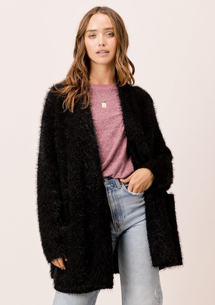 [Color: Black] Lovestitch Black fuzzy popcorn shawl collar cardigan with pockets