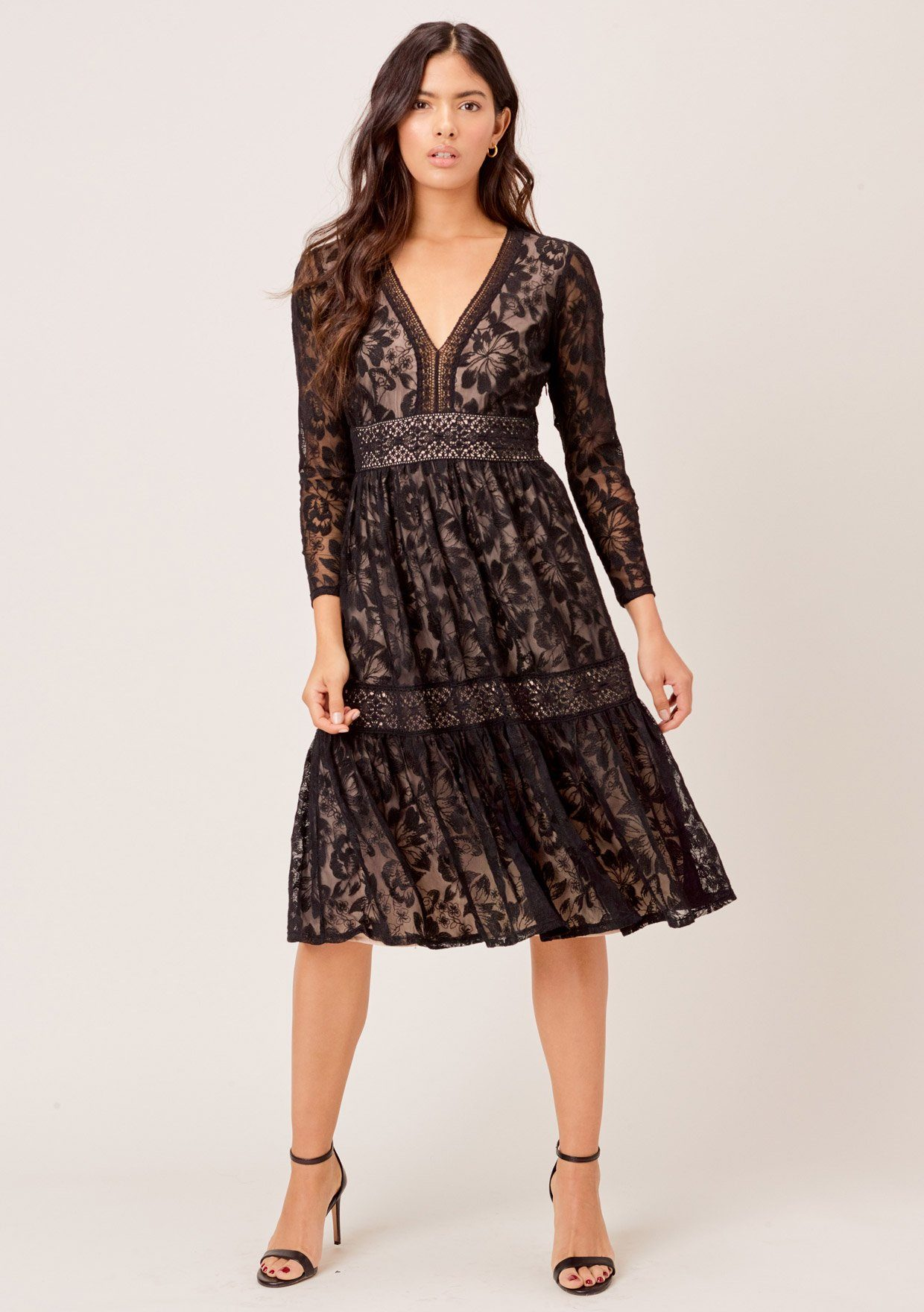 [Color: Black] Lovestitch black Beautiful floral lace midi dress with deep V-neckline and empire waist.