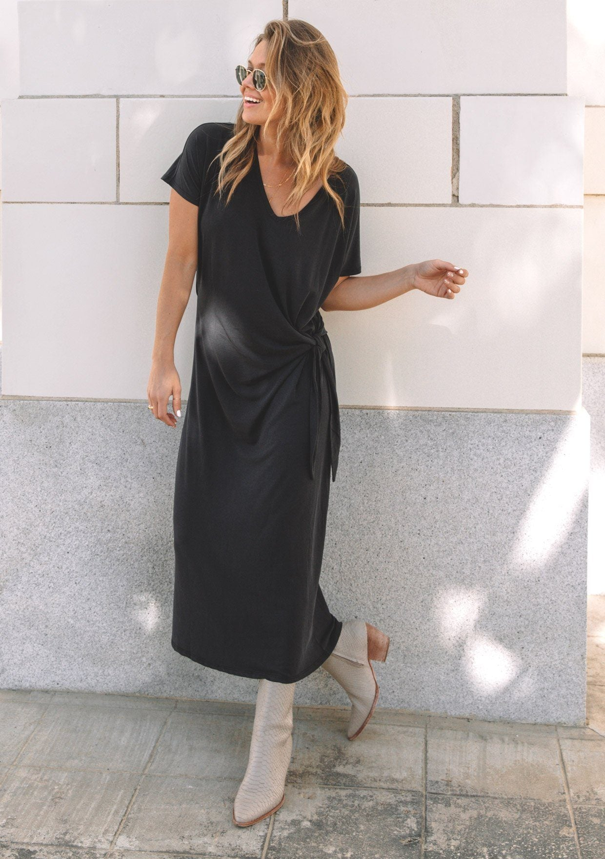 [Color: Black] Lovestitch black maxi shirt dress with waist defining side tie detail scoop neck and cap sleeve flattering maxi dress
