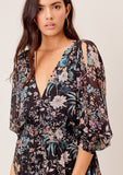 [Color: Black/Apricot/Blue] Perfect winter and summer, day to night floral maxi dress featuring a sexy open back, long split sleeves and a plunging V-neckline. Show a little leg in the flattering floral Glenna Mini Dress in Black.