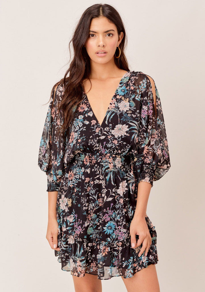 [Color: Black/Apricot/Blue] Lovestitch Floral printed, split sleeve mini dress with smocked waist and sleeve cuffs.