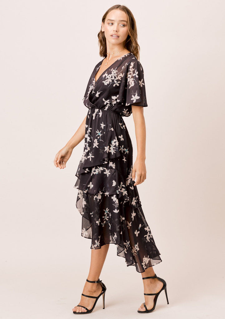 [Color: Midnight/Champagne] Lovestitch midnight/champagne floral printed, short sleeve, surplice front maxi dress with ruffle detail and front slit.