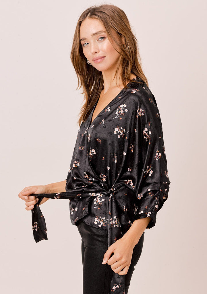 [Color: Black/Lavender] Lovestitch tiny floral printed, faux wrap top with side tie detail.