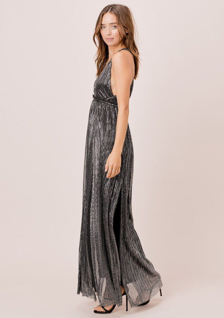 [Color: Black/Silver] Lovestitch Stunning, pleated, metallic maxi dress with empire waist and twisted T-back.